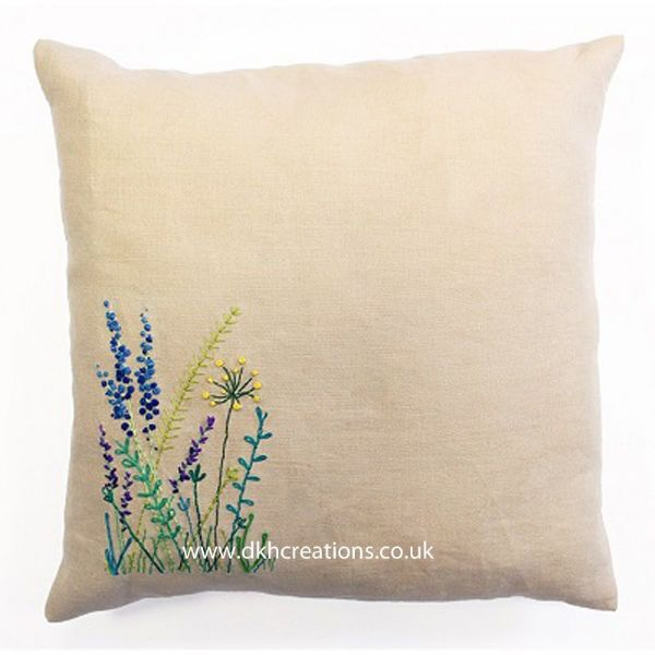 Meadow Sweet Wild Flowers Embroidery Cushion Kit